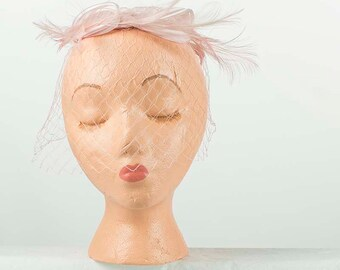 1950s Pink Feather Halo Hat
