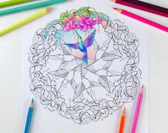Mandala Coloring Page Hummingbird Coloring Pages for Adults Get well soon Flower Mandala Digital Coloring Hand Drawn Line Art Olga Zaytseva