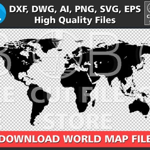 World dwg etsy world map silhouette dxf dwg ai svg png eps files download world map digital cut file gumiabroncs Images