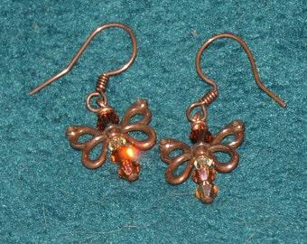 Amber, Copper Butterfly Earrings