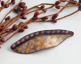 Copper Enamel Leaf Art Brooch, Artisan Jewelry in Vitreous Enamel, Gold Pink Lavender Brooch, Dotted Lapel Pin, Ready to Mail, Gift for Her