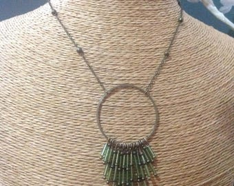 Necklace bronze and tube seed beads.