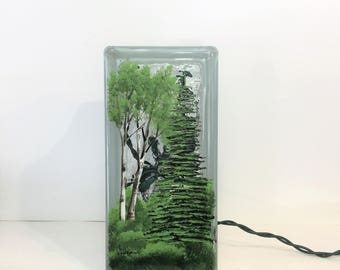 Glass Block Light Lamp-Birch and Fur Tree Forrest