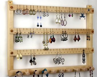 Earring Holder Jewelry Holder Cherry Wood Wall Mount with