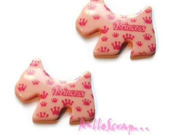 Pink set of 2 large dogs clear resin embellishments scrapbooking *.