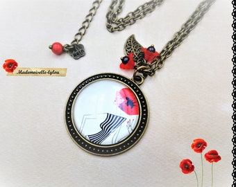 Women necklace, poppies jewelry, cabochon necklace, red jewelry, poppy necklace, gift women, charm necklace, women jewelry, red poppies