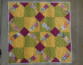 Baby Quilt - Metro Hoops - Minky Backing with Designer Fabric
