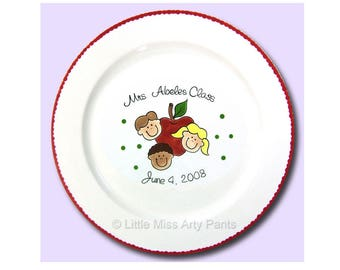 Free Shipping - Personalized Signature Teacher Plate - Hand painted Plate - Personalized Plate - Guest Book Plate - Teacher Gift - Apple