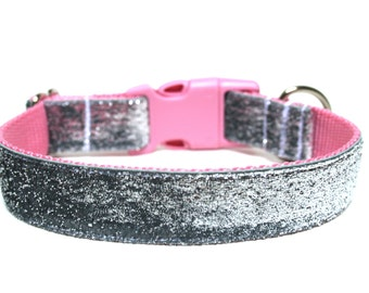 """Silver Dog Collar 3/4"""" or 1"""" Silver and Pink Dog Collar"""