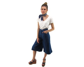 Vintage 70s Denim Culottes, High-Waist Culottes, Flared, Hippie, Bohemian, Jean Gaucho Pants Δ size: xs / md