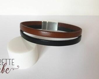 Black and brown leather mens bracelet