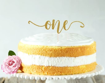 One Cake Topper, Cake Decoration, Glitter, Party Decoration, Custom, Gold, Silver, Birthday, First Birthday, Bday, 1st Birthday