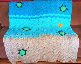 Crochet Sea Turtle Ripple Afghan Blanket, baby blanket, nursery blanket, beach blanket, crib blanket, stroller blanket, turtle blanket