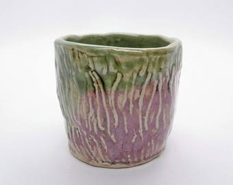 Stoneware Pink Green Cup Handmade Pottery