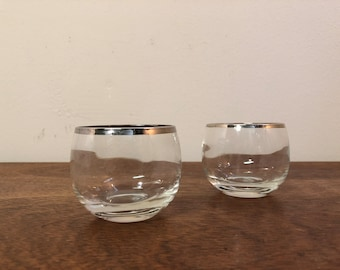 Two Roly Poly 4 oz Snifter Glasses with Thin Silver Rims