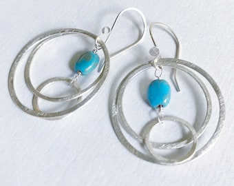 Triple circle and stone argentium silver earrings