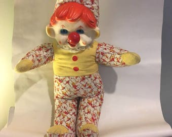 Vintage Ganz Stuffed Clown Doll with Musical Nose