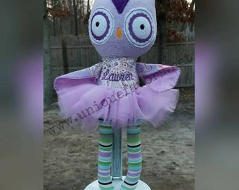 "Handmade Owl Doll 18.5"" or 15"" with or without Tutu! Boy and Girl versions available! Each is unique, one of a kind! Fully washable!"