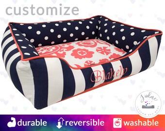 Polka Dot Dog Bed with Navy & Coral  | Suzani, Polka Dot, Stripe | Choose Your Design