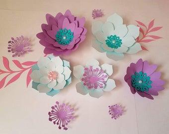 Set of 5 Paper Flowers, Birthday Flowers, Nursery Decor, Bridal Shower Decor, Wedding Decor