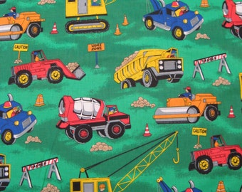 Fat Quarter - Things That Go #5167 Novelty Fabric 1997 - Construction Equipment Allover on Green Like Tonka Trucks - Fabric Traditions - OOP