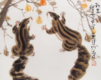squirrel paintings Original  chinese  painting oriental art watercolour-squirrels with fruit No.8