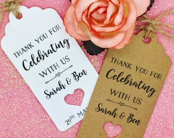 Wedding Thank You Tags, Wedding Favour Gift Tags, Guest Label Kraft