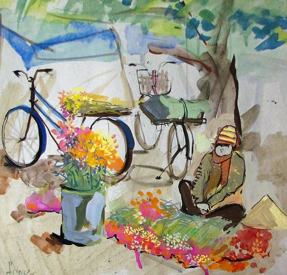 "FLOWER MARKET 15x15"" gouache on paper, live painting, Vietnam village scene, original by Nguyen Ly Phuong Ngoc"