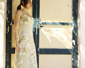Champagne vintage floral silk chiffon satin maxi dress.size 6