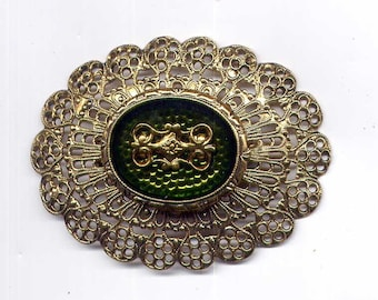 Vintage Goldtone Filigree Pin with Cameo