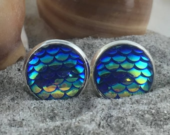 Mermaid Earrings - Mermaid Studs - Mermaid Scale Earrings - Mermaid Scale Studs -Dragon Scale Studs - Dragon Scale Earrings - Mermaid Scales