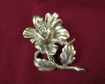 1940's Walter Lampl Sterling Silver Flower Brooch Pin, Cabbage Rose, With Tabby Zipper Fastener, Signed