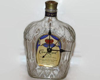 Crown Royal, Desk Clock, Whisky desk clock, man cave, groomsman gift, Father's day gift, crown royal whisky, recycled bottle,  eco friendly