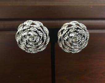 Vintage Lisner Silvertone Twisted Rope Design Clip-On Earrings. Silver Clip-Ons. Mid-Century Jewelry. Large Oversized Statement Earrings.
