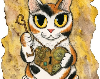 Cat Steampunk Art Cat Painting Valentine Victorian Heart Locket Big Eye Cat Art Limited Edition Canvas Print 11x14 Cat Lovers Art