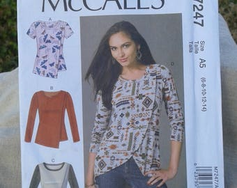 Misses Tulip Hem or Overlay T-Shirt Tops -  McCall's Sewing Pattern 7247 - Sizes 6 - 14