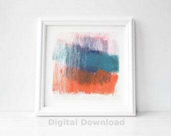Blue and Orange Abstract Printable Art for Instant Download - Colorful Abstract Digital Download Print - Mid Century Modern Art