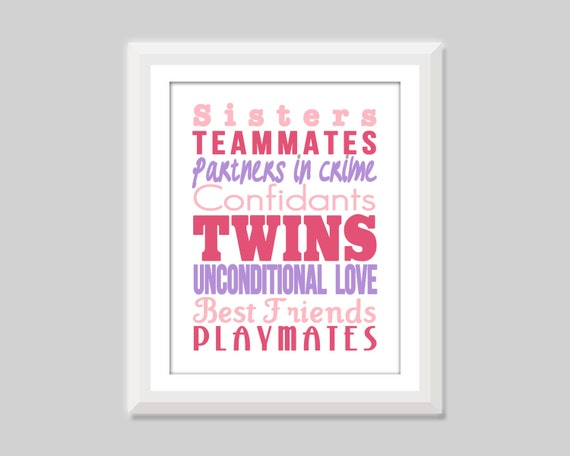 I Love My Twin Sister Quotes Delectable Twin Girl Nursery Art Twin Sisters Print Twin Nursery Decor