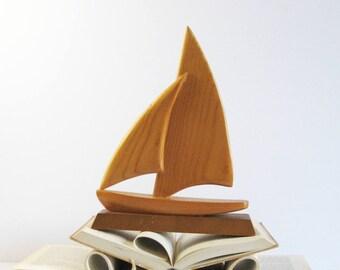 Vintage Carved Wood Sailboat Model - Nautical Home Decor - Sloop Sailing Vessel Maritime Canada Souvenir - Wood Sculpture Wood Boat Figurine