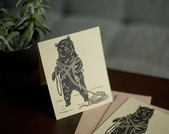 Relief Print : Grizzly Bear Cards (2 Pack)