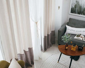 banded grey drapes blue curtains pale colorblock fullxfull edge trim block with white products color il banding