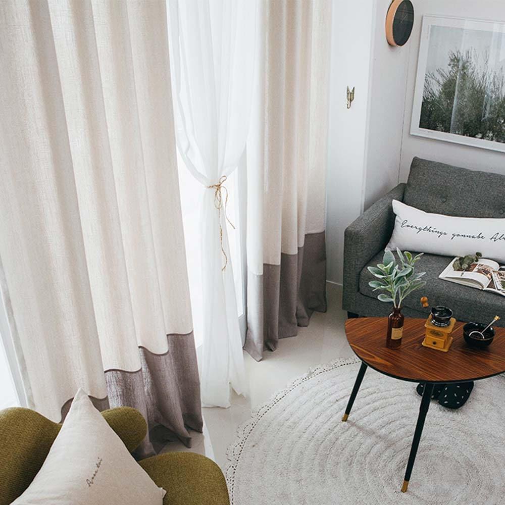 Color Block Linen Curtain Beige Warm Grey