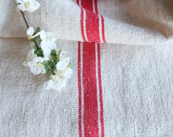 FP 483:antique grain sack, TOMATO Red, 47.24 long,holiday feeling pillow cushion, decor, french lin tablerunner, upholstery, old linen