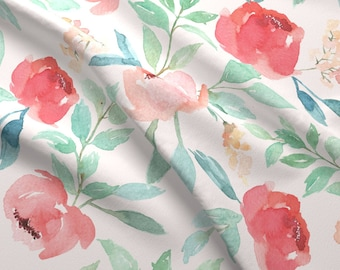 Watercolor Fabric - Large Watercolor Floral On Pink By Taylor Bates - Watercolor Cotton Fabric By The Yard With Spoonflower