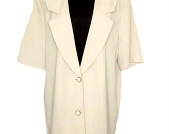 Women jacket, Vintage jacket, Vintage ivory coat, Short sleeve blazer, Jacket Deep Neckline Collarless Jacket, Ladies top