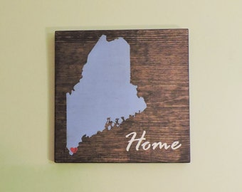 """Pick State, Pick colors, Custom, Wooden State Sign, Maine, 11.25""""x11.25"""""""