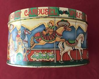 Vintage Wolfgang  Carousel Candy Tin Litho