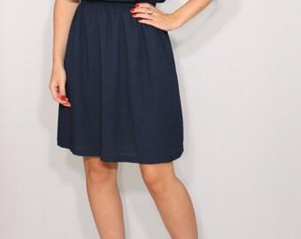 Navy bridesmaid dress Dark blue dress Short navy dress Chiffon dress Party dress