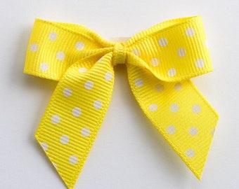 Yellow Self Adhesive Polka Dot Grosgrain Ribbon Pre Tied 5cm Bows