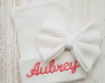 Newborn girl personalized hospital hat- baby girl hospital hat, baby girl hat, newborn beanie, coral baby hat, newborn girl hat, baby bow